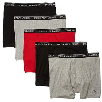 Polo Ralph Lauren Classic Fit w/ Wicking Boxer Brief 5-Pack (Andover Heather/RL2000 Red/Black) Men's Underwear