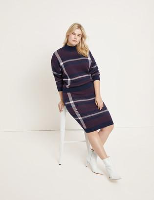 ELOQUII Plaid Intarsia Sweater Skirt