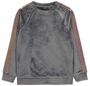 George Grey Velour Sequin Stripe Sweatshirt