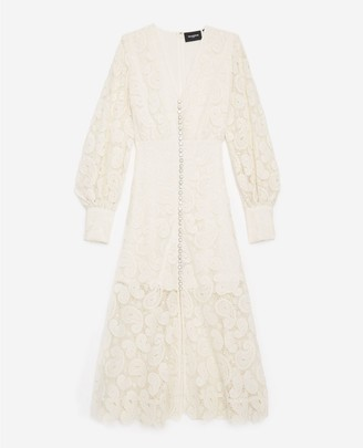 The Kooples Ecru long-sleeved lace dress