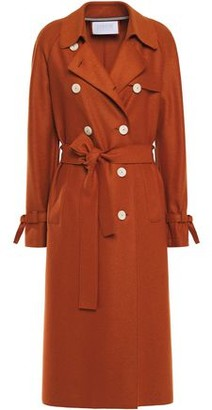 Harris Wharf London Belted Wool-felt Trench Coat