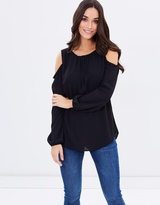 Wallis Lace Trim Cold Shoulder Top