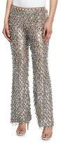 Michael Kors Dangling Metallic Flare-Leg Pants, Silver/Suntan