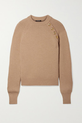 Balmain Button-embellished Wool And Cashmere-blend Sweater - Beige