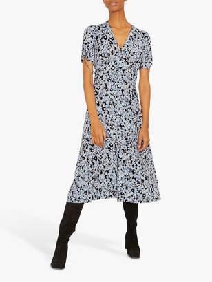 Jigsaw Shadow Ditsy Midi Tea Dress, Arctic Blue