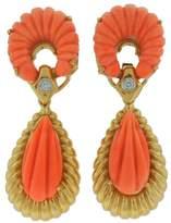 Van Cleef & Arpels Carved Coral Diamond Yellow Gold Earrings