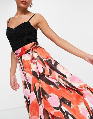 Monki Anna midi wrap skirt in red floral print