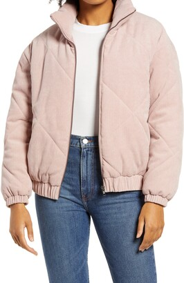 ALL IN FAVOR Quilted Corduroy Bomber Jacket
