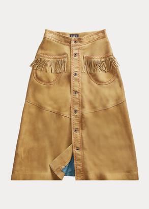 Ralph Lauren Fringe Suede Skirt