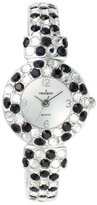 Peugeot Women's 326BK Silver-Tone Black And Clear Crystal Glitz Cuff Watch