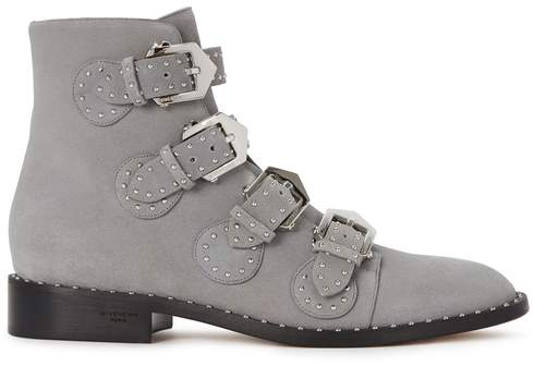 Givenchy Elegant Grey Studded Suede Boots