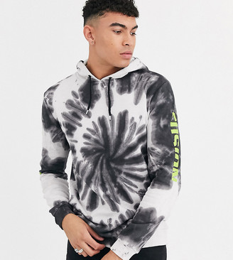 Asos Design DESIGN Tall hoodie in tie dye wash with neon sleeve prints-Multi