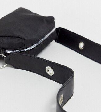 My Accessories London Exclusive nylon crossbody bag with wide eyelet strap-Black