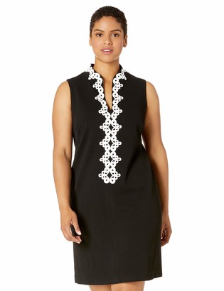 Jessica Howard JessicaHoward Plus Size Womens Sleeveless Split Mandarin Collar Shift Dress