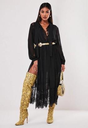 Missguided Black Chiffon Lace Trim Midi Dress
