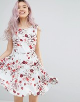 Yumi Belted Skater Dress In Romantic Floral Print