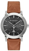 Burberry Check Stamped Leather Strap Watch, 42Mm