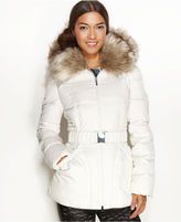 Laundry by Shelli Segal Jacket, Faux-Fur-Trim Hooded Belted Puffer