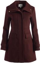 Cole Haan Bordeaux Wool-Blend Funnel Collar Coat