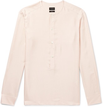 Ermenegildo Zegna Grandad-Collar Pinstriped Silk Half-Placket Shirt