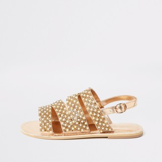 River Island Girls Gold embellished strappy sandals