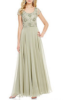J Kara Beaded Scoop Neck Cap Sleeve A-Line Chiffon Gown
