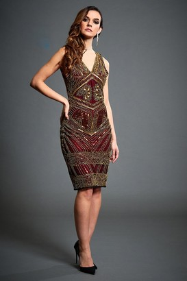 Jywal London Gold Sequin Embellished Flapper Dress