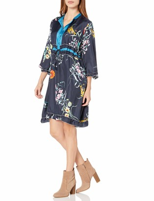 Johnny Was Women's Silk Printed Knee-Length Dress with Ruffle Trim Detail
