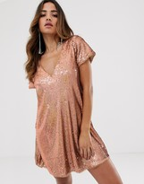 TFNC sequin shift dress in rose gold
