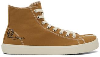 Maison Margiela Brown Canvas Tabi High-Top Sneakers