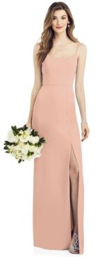 After Six Crepe Side-Slit Gown