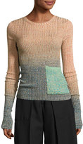 Acne Studios Marled Ombre Patch-Pocket Sweater, Turquoise/Multi