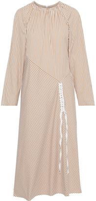 Tibi Kaia Braid-trimmed Striped Cotton-blend Poplin Midi Dress