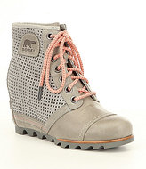 Sorel 1694 Premium Perforated Leather Lace Up Wedge Booties
