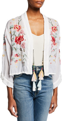 Johnny Was Aurora Cropped Floral Embroidered Kimono