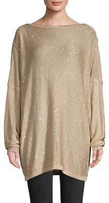 Free People Glitter-Embellished Open-Back Sweater