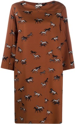 Altea Horse-Print Midi Dress