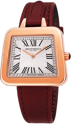 Bruno Magli 34mm Emma 1142 Trapezoid Leather Watch, Red/Rose