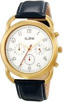 A Line a_Line Women's AL-80012-YG-02-BU Maya Chronograph Dial Dark Blue Leather Watch