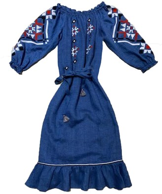 My Sleeping Gypsy Provence Longsleeve Off The Shoulder Midi Tie Dress