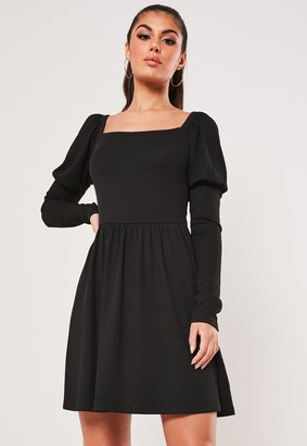 Missguided Recycled Tall Black Milkmaid Skater Dress