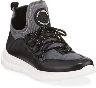 Karl Lagerfeld Paris Men's Leather/Mesh Mid-Top Sneakers
