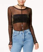 Material Girl Juniors' Metallic Mesh Bodysuit, Created for Macy's