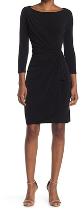 Catherine Malandrino 3/4 Sleeve Draped Front Sheath Dress