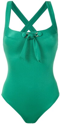AMIR SLAMA Front Tie Detail Ribbed Swimsuit