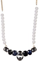 Natasha Accessories Faux Pearl & Crystal Center Necklace