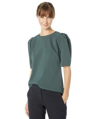 Lark & Ro Stretch Woven Half Sleeve Top Shirt