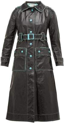 Courreges William Vintage 1960s Vinyl Trench Coat - Womens - Black Green