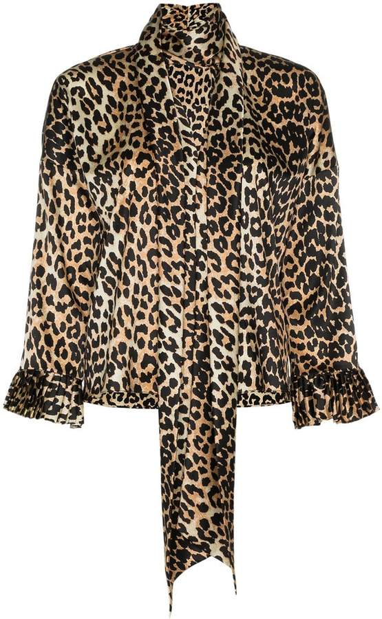 Ganni calla leopard print blouse
