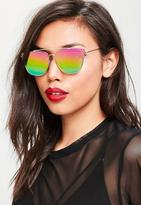 Missguided Gold Flat Bar Metal Frame Sunglasses, Pink